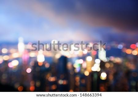 blured lighhts from peak Victoria, Hong Kong