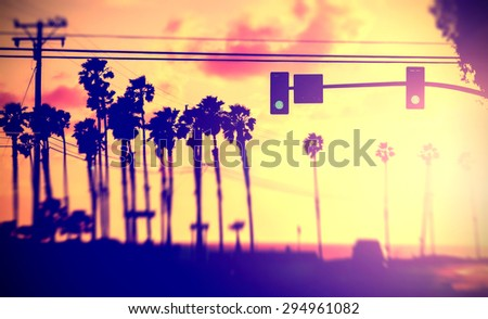 Stock Photo Blurred abstract background made of street against sun, California, USA.