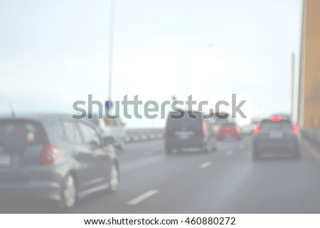 Blurred abstract background of car on highway #460880272