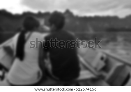 Blurred abstract background of couple travel on boat #522574156