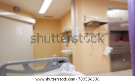 Blurred abstract background of hospital interior inside ICU ward
