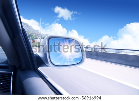 blurred action from car at high speed