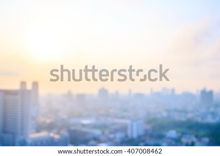 Blurred aerial view skyline on amazing golden warm light at sunset. Beautiful hotel and resident of Bangkok city, Thailand, Asia background. #407008462