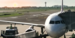Blurred airplane photos, fuel refueling capacity In an airport,