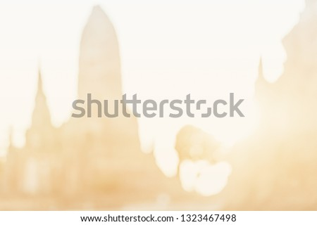 Blurred ancient asian archaeological site in Asia for historical tourist. Landmark of ayutthaya landmark wat in Thailand with old ruin Buddha statue