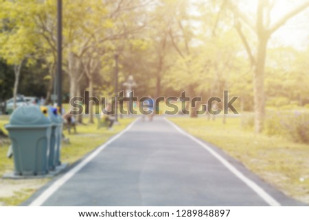 Blurred asphalt pathway in the park. Outdoor park nature concept. #1289848897