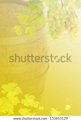 Blurred background. A barrel of wine and vine. Can be used as the basis for a label for wine bottles