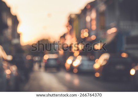 Blurred background : Blur of car and old town with bokeh in Phuket, Thailand