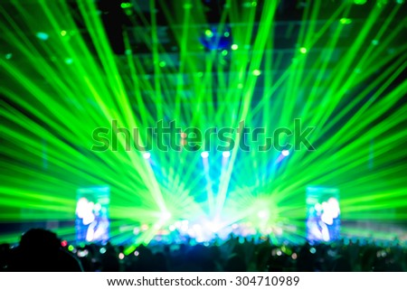 Blurred background : Bokeh lighting in concert with audience ,Music showbiz concept. #304710989