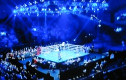 Blurred background. Boxing ring arena for athletes. Extreme Sport mixed martial arts competition tournament. fight stage.