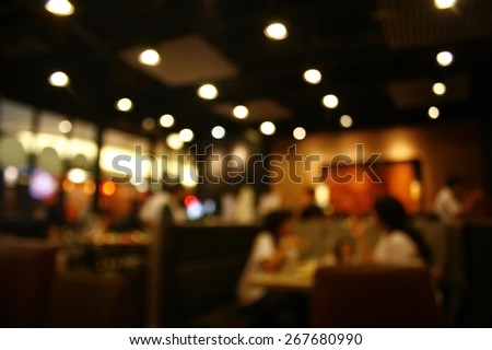 Blurred background : Customer at restaurant blur background with bokeh #267680990