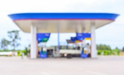 Blurred Background famous gas station in Thailand.