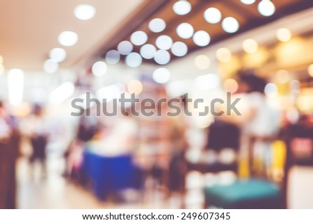Blurred background : Groups of customer queuing in front of restaurant.