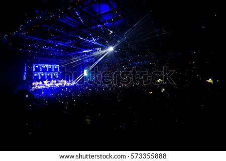 blurred background light lights people rock concert nights #573355888