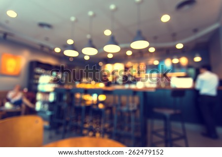 Blurred background made with Vintage Tones,Coffee shop blur background with bokeh