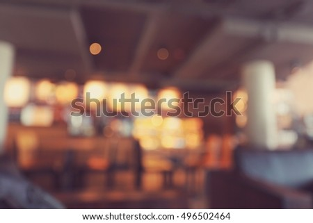 Blurred background made with Vintage Tones,Coffee shop blur background with bokeh #496502464