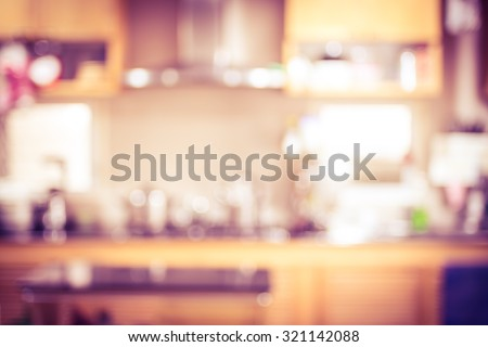 Blurred background,Modern kitchen with bokeh light, vintage filter
