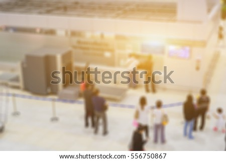 blurred background of Checkpoint - Body and bag Luggage Scan Machine ,Security Airport Check In,vintage color