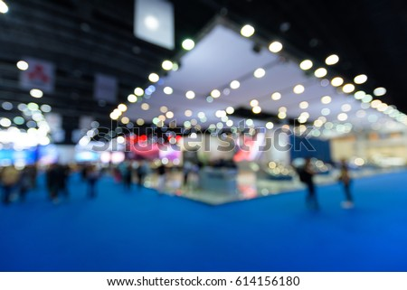 Blurred background of event exhibition show public hall, business trade concept #614156180