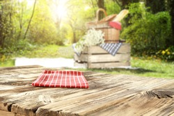 blurred background of landscape and empty table and summer  time