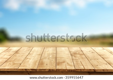 blurred background of landscape with blue sky and