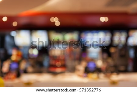 blurred background of people inside fast food restaurants #571352776