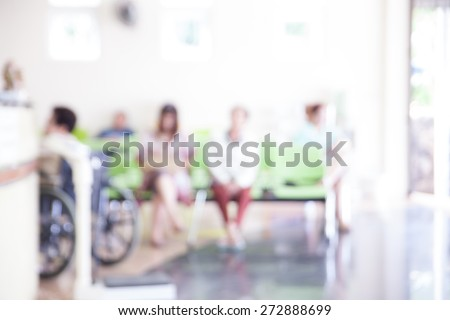 blurred background of people waiting for doctor in hospital