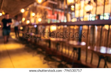 Blurred background of restaurant with abstract bokeh light. #796530757
