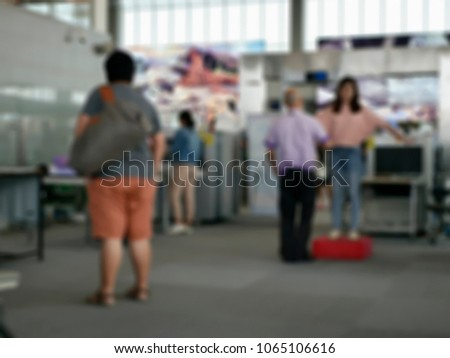 blurred background of TSA, Security Checkpoint - Body and Luggage bag Scan Machine ,Secure in Airport Check In,vintage color