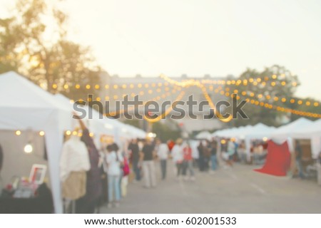 Blurred Background of Weekend Flea Market