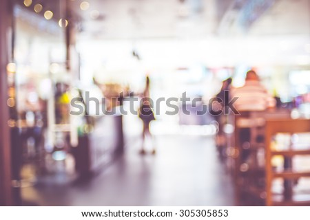 Blurred background : People in Coffee shop blur background with bokeh light with vintage filter.