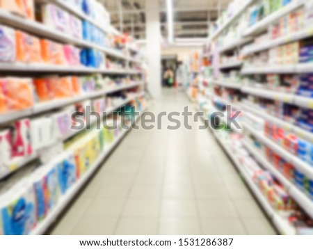 Blurred Background : Thai People Shoping In Supermarket Store.