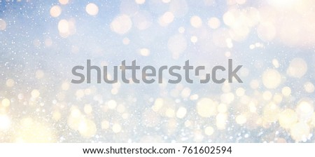 Blurred background with bokeh. Christmas and Happy New Year greeting card. #761602594
