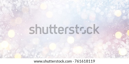 Blurred background with bokeh. Christmas and Happy New Year greeting card. #761618119