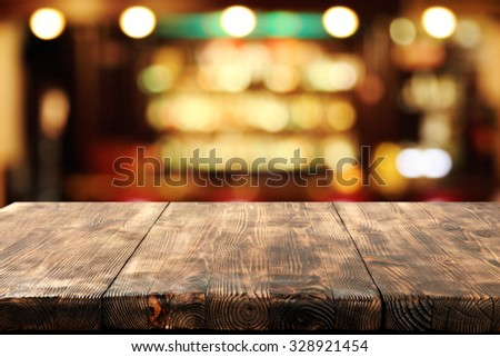 blurred bar and desk space