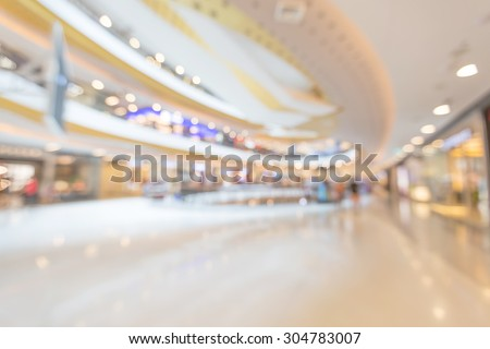 Blurred beautiful structure of interior shopping mall with bokeh for business promotion background