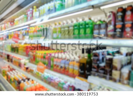 blurred beverage showing on shelf in the cold freezer at department store concept.
