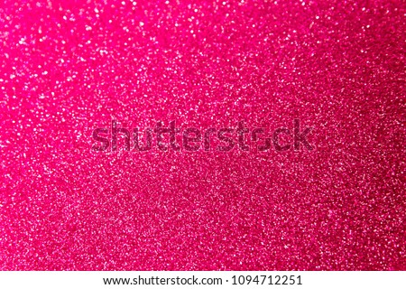 Blurred blaze pink glitter Christmas texture backdrop.  Red purple abstract photo of bokeh lights. Hot Plastic Pink color trends 2019. #1094712251