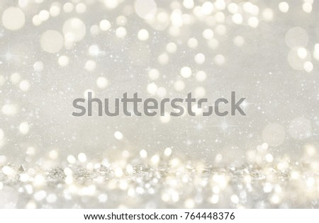Blurred bokeh light background, Christmas and New Year holidays background #764448376