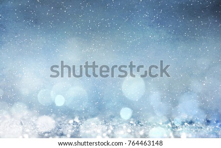 Blurred bokeh light background, Christmas and New Year holidays background #764463148