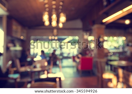 Blurred cafe background ,Coffee shop blur background with bokeh. vintage filter effect #345594926