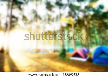 Blurred Camping site and sunrise #432892588