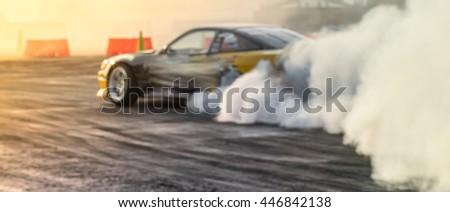 Blurred car drifting, motion blur drift car.