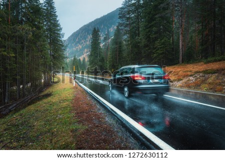 Blurred car in motion on the road in autumn forest in rain. Perfect asphalt mountain road in overcast rainy day. Roadway, pine trees in italian alps. Transportation. Highway in foggy woodland. Travel