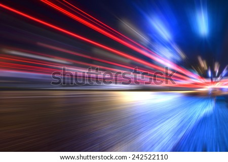 Blurred car lights, long exposure photo of traffic #242522110