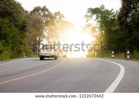 Blurred car trip travel asphalt road  on mountain at  Hills Thailand.  #1222672642
