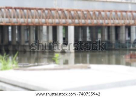 blurred cement bridge with...