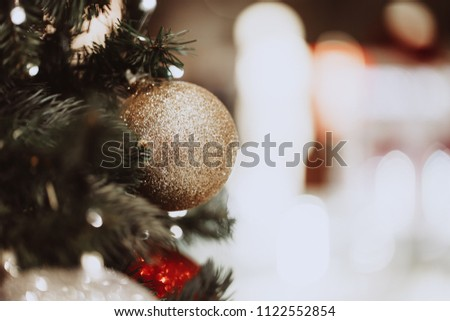 Blurred chrismas background with lights and big stars.