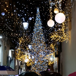 Blurred christmas lights decoration and giant Christmas tree in Salerno during the artist lighting event, Italy.