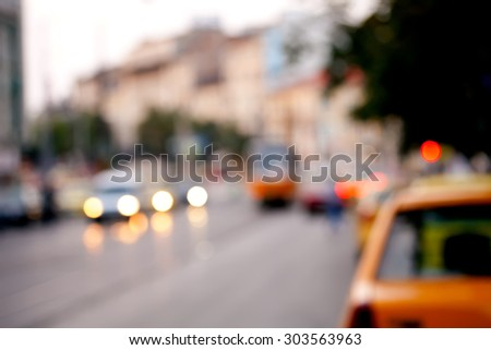 Blurred city and cars urban abstract background